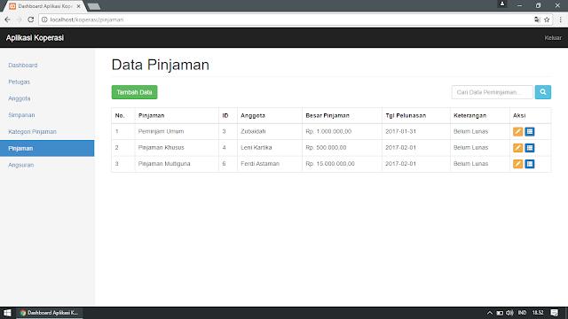 Data Pinjaman di Aplikasi Koperasi Simpan Pinjam Berbasis Web (Pengelolaan Data : Tampil, Tambah, Edit, Cari, Detail)