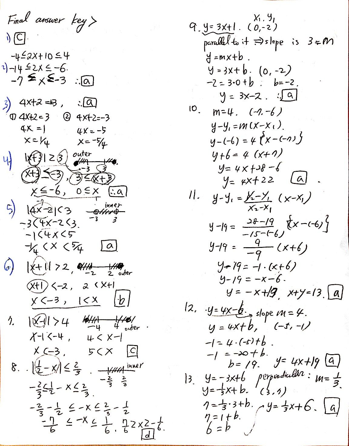 Math Problems Answers