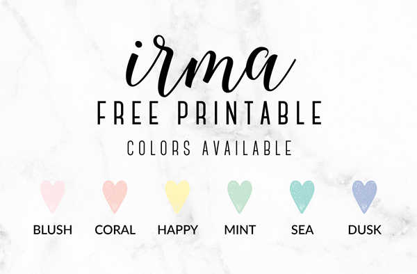 6 colors available in the Free Printable Irma Daily Planners by Eliza Ellis