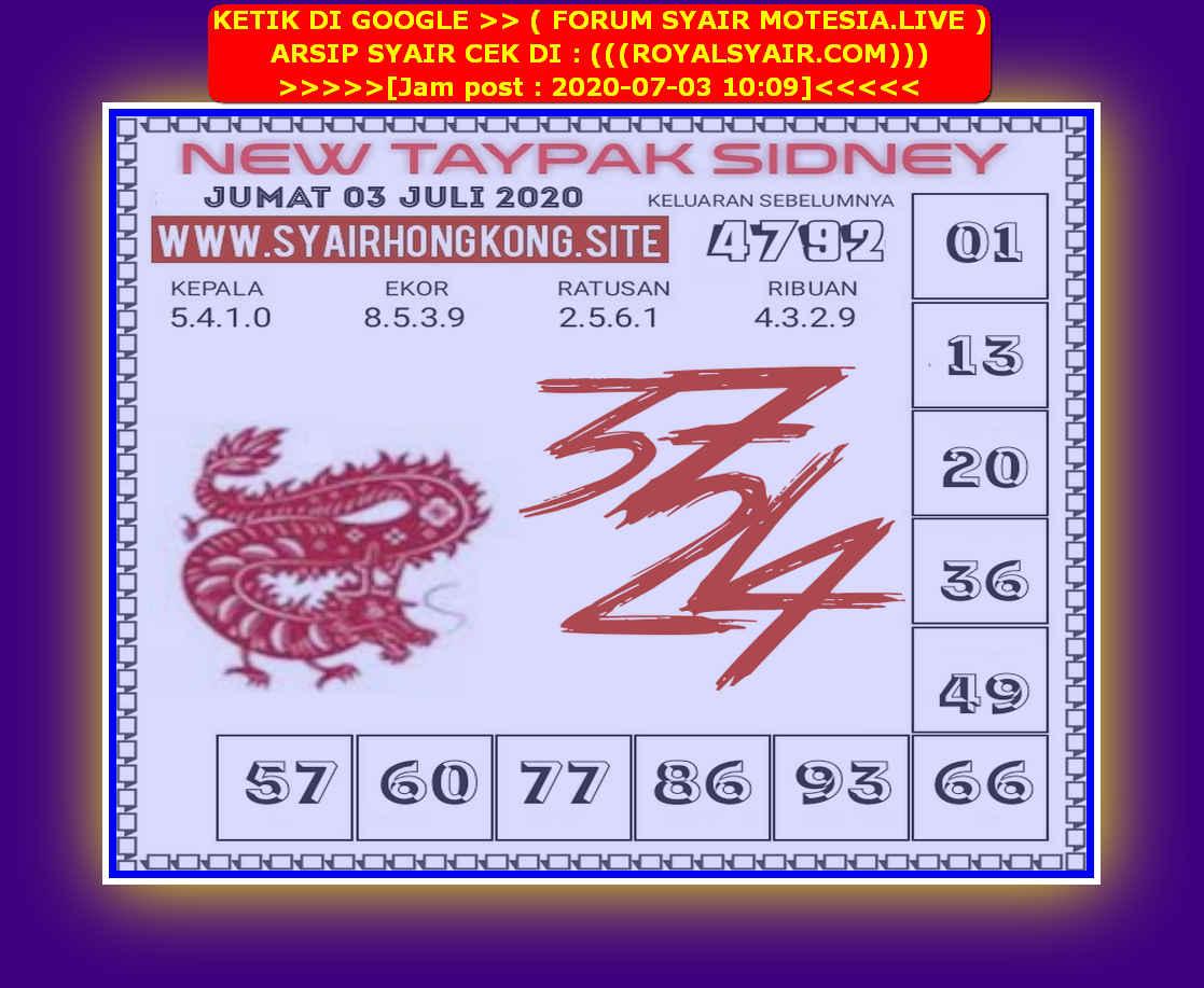 Kode syair Sydney Jumat 3 Juli 2020 194