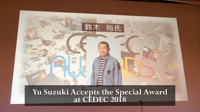 Yu Suzuki Accepts the Special Award at CEDEC 2018
