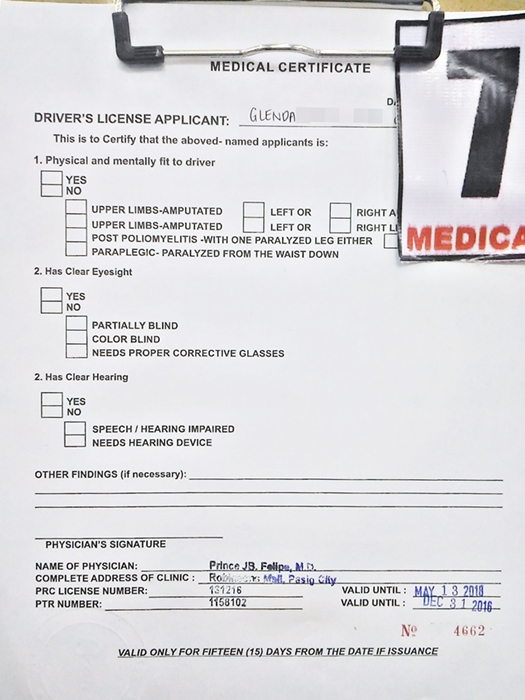If you need a medical certificate for a driving license