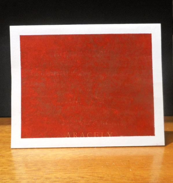 tarjeta rojo beige repujado aluminio