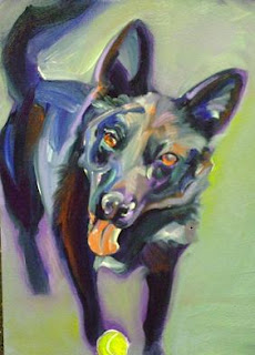 pet portraits in oil, dog with tennis ball painting