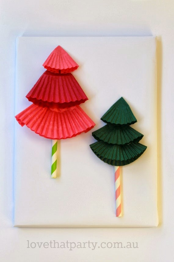 DIY Paper Christmas Tree Gift toppers, so easy. Use Cupcake patty pans and paper straws. www.lovethatparty.com.au