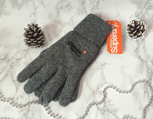 grey mens superdry gloves