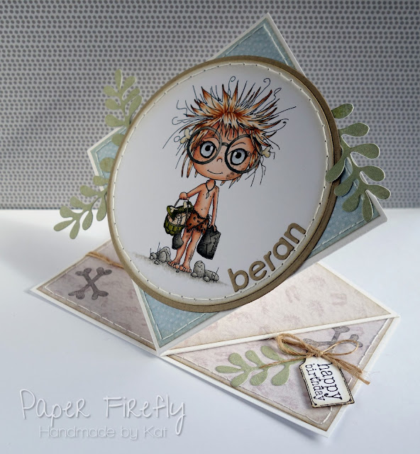 Pop up card featuring little caveman image from Polka Doodles