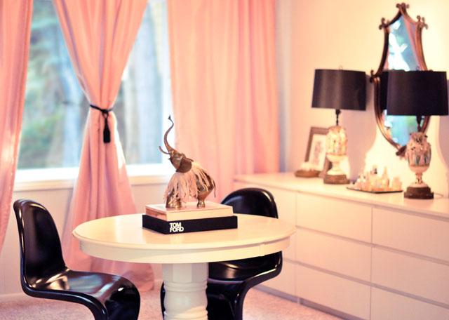 work space and vanity