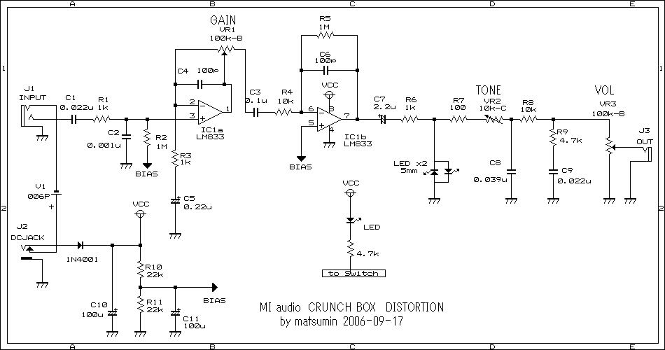 Schematic diagram of Boss BF-2 flanger pedal FX Circuits - p amp amp l statement
