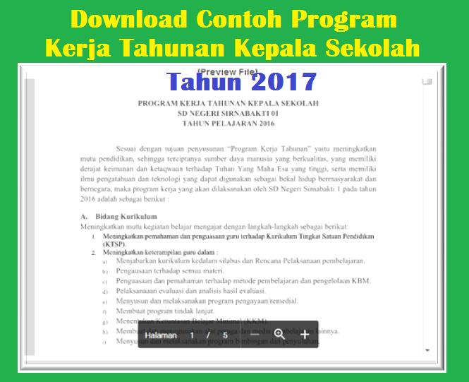 Download Contoh Program Kerja Tahunan Kepala Sekolah 2017 Download Galeri Guru