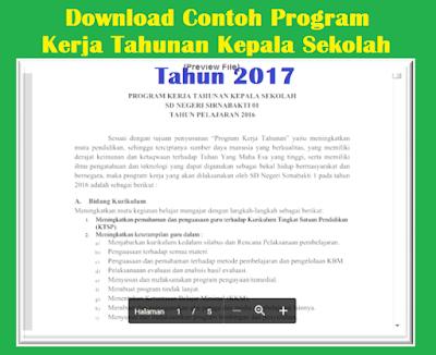 Download Contoh Program Kerja Tahunan Kepala Sekolah 2017