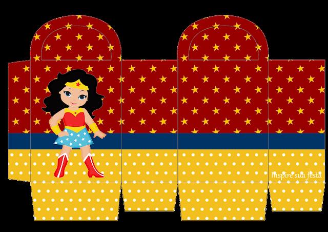 Cajas de Mujer Maravilla Chibi para imprimir gratis.