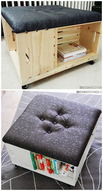 DIY ottoman and book storage
