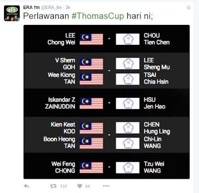 piala thomas 2016, keputusan piala thomas, lee chong wei, kemenangan lee chong wei, final piala thomas, jadual piala thomas 2016
