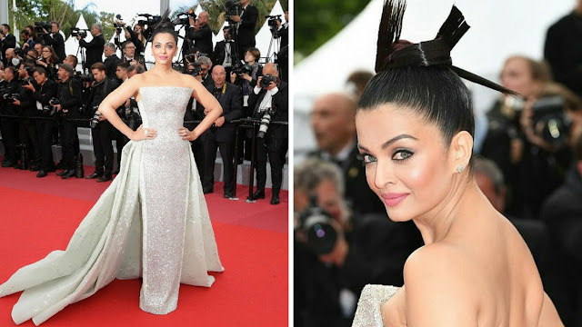 aishwarya Rai in silver gown at Cannes 2018 red carpet look 2