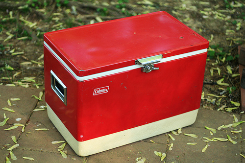 The Old Red Metal Coleman Coolers