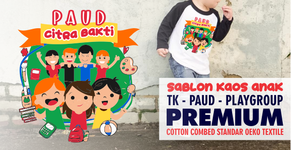 Sablon Kaos Anak TK Paud Play Group Raglan