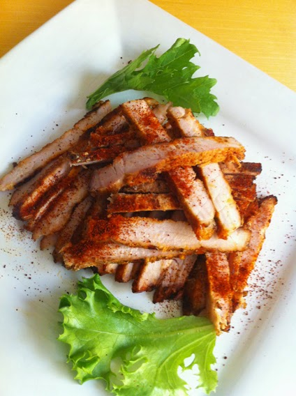 Grilled pork slices with Hatch Red Chile