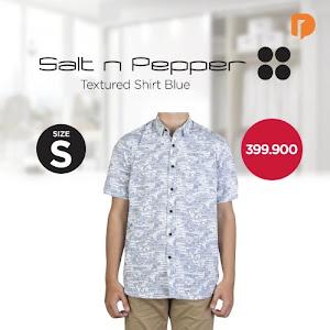 Salt N Pepper Textured Shirt Size S Blue