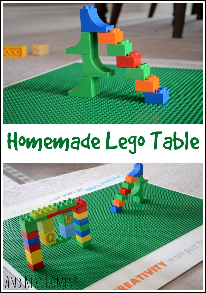 Homemade Lego table that is also portable from And Next Comes L