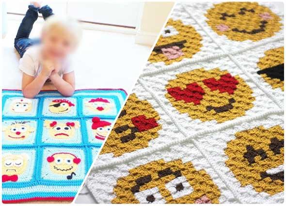 Cualquier niño esta obsesionado con los emoticones o emojis, sobre todo de los 0 a los 6 años, por eso es un buen momento para tejer una manta con estas caritas