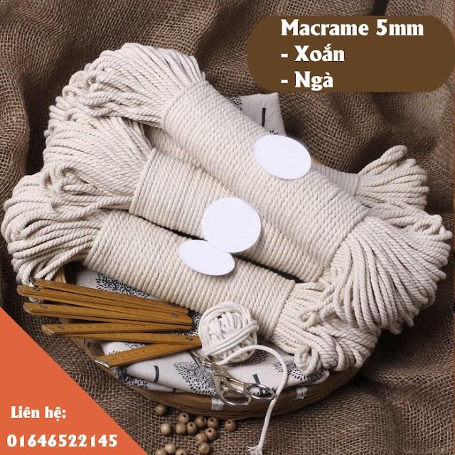 Dây macrame 5mm màu ngà, dạng xoắn giá rẻ cho dân handmade
