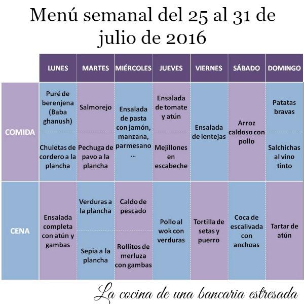 Menú semanal del 25 al 31 de julio