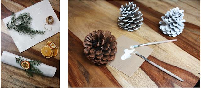 stół świąteczny - naturalne ozdoby