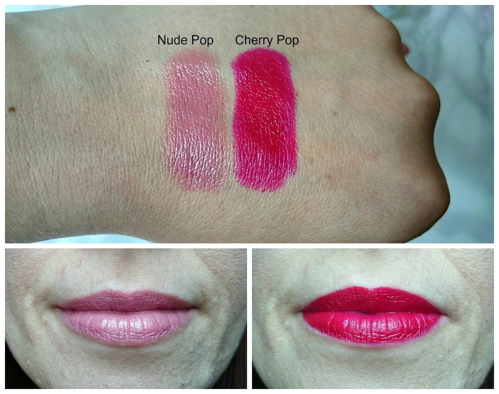 Clinique Pop Lip Colour in Nude Pop and Cherry Pop swatches