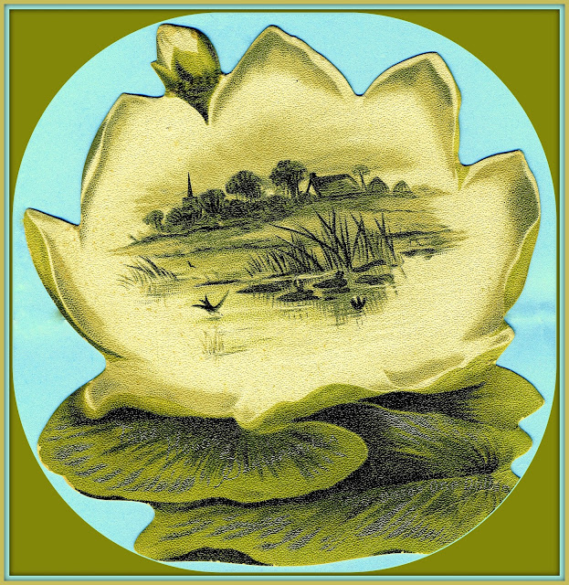 marshy landsape painted on water lily advertising Hood's Sarsaparilla