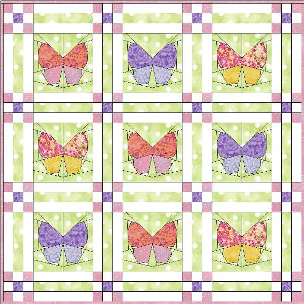 Cut, Stitch + Piece Quilt Designs: Butterfly Garden Quilt
