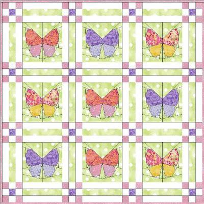 Butterfly quilt from butterfly garden quilt block pattern