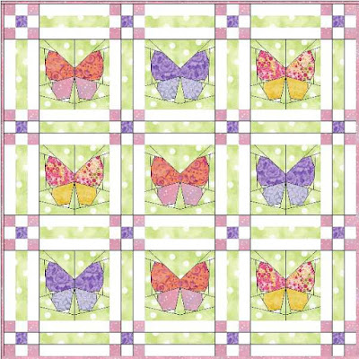 Butterfly Garden Quilt Block Pattern by monica curry