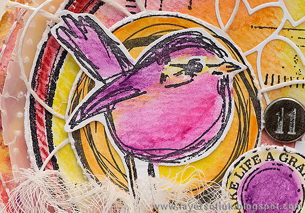 Layers of ink - Circle Scribbly Bird Card by Anna-Karin with Dina Wakley Scribble Sticks