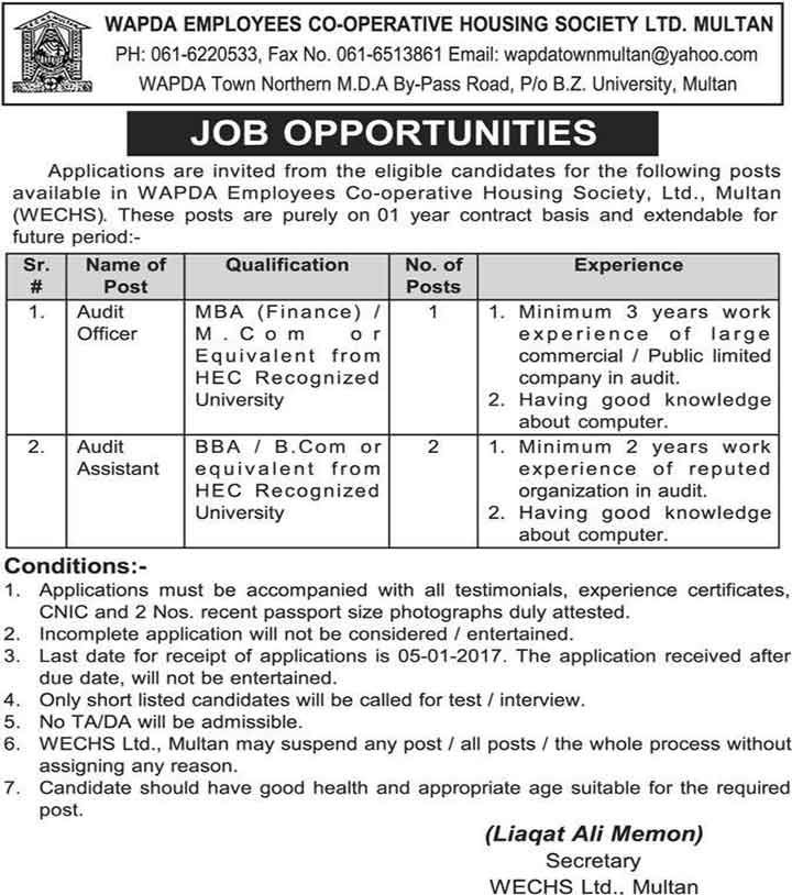 Wapda Employees Cooperative Housing Society Limited Multan Jobs