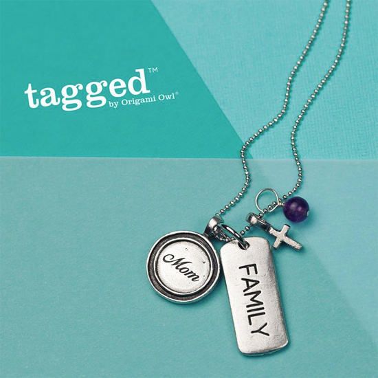 Mom + Family + Faith Tagged Origami Owl Necklace from StoriedCharms.com