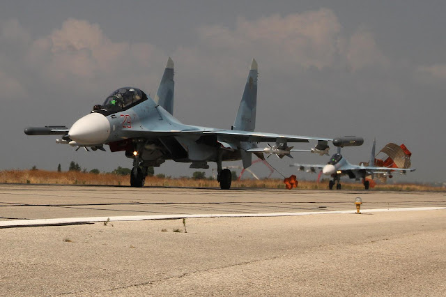 Su-30SM at Hmeymim AB, Syria -- Russian MoD photo