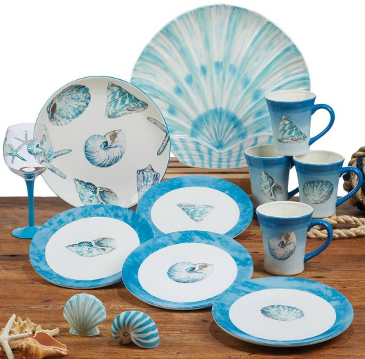 Beachy Blue Sea Shell Dinnerware | Plates and Mugs
