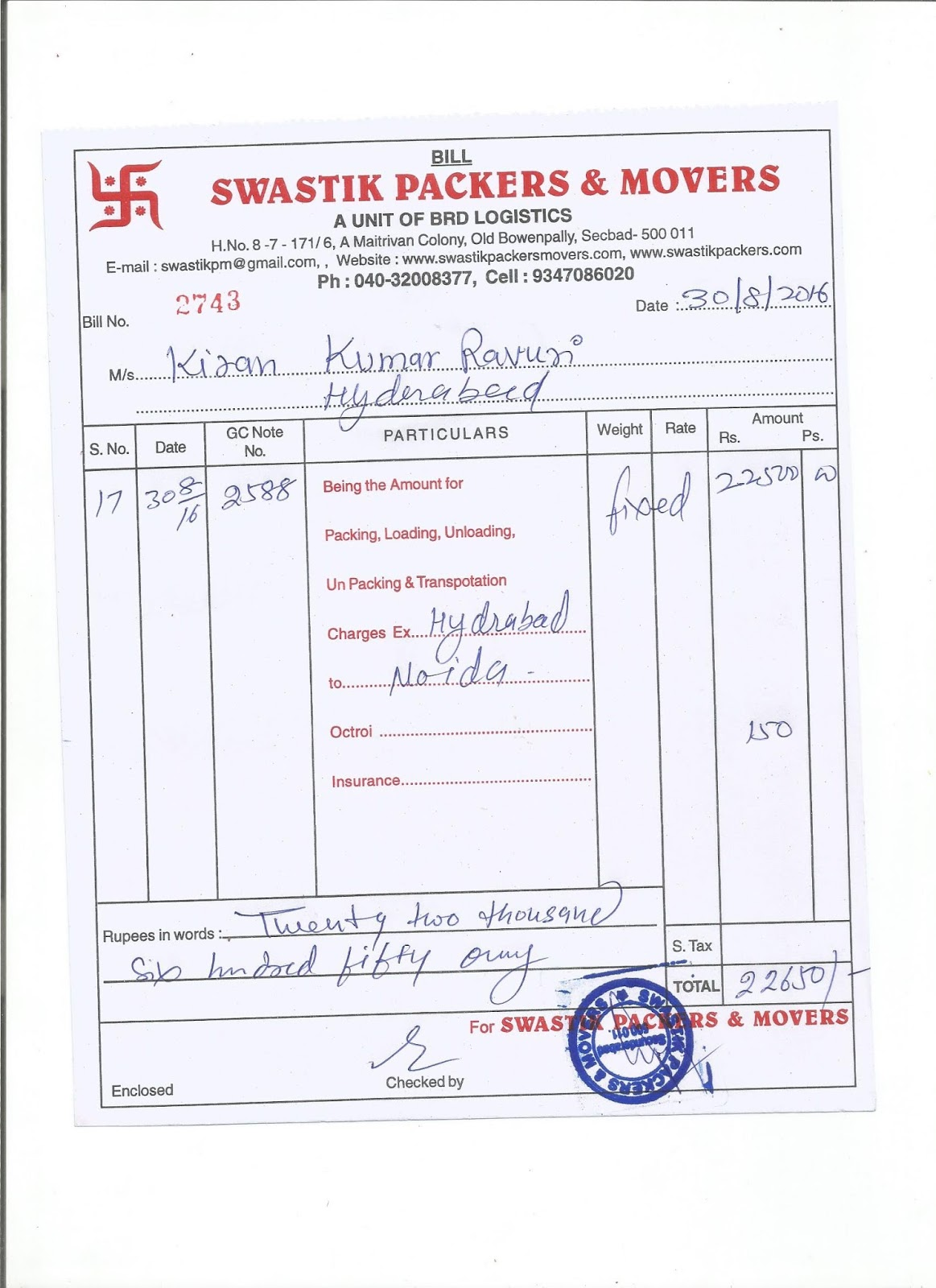 movers and packers bill