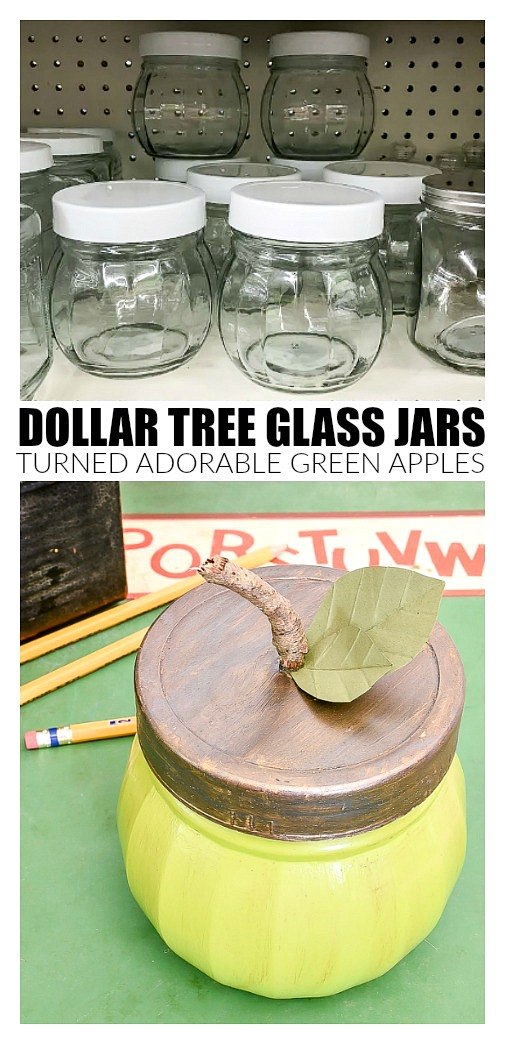 Green apples made from Dollar Tree glass jars