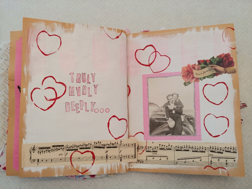 Valentine altered book spread