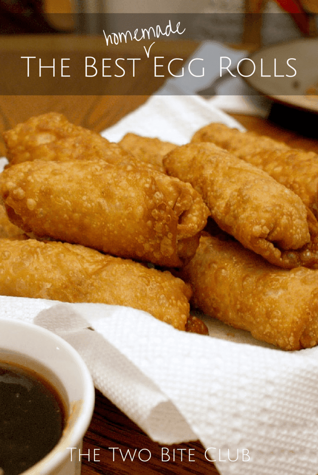 These are the BEST Homemade Egg Rolls made with seasoned ground pork and fresh vegetables tightly rolled up in egg roll wrappers, then fried to crispy delicious perfection. #eggrolls