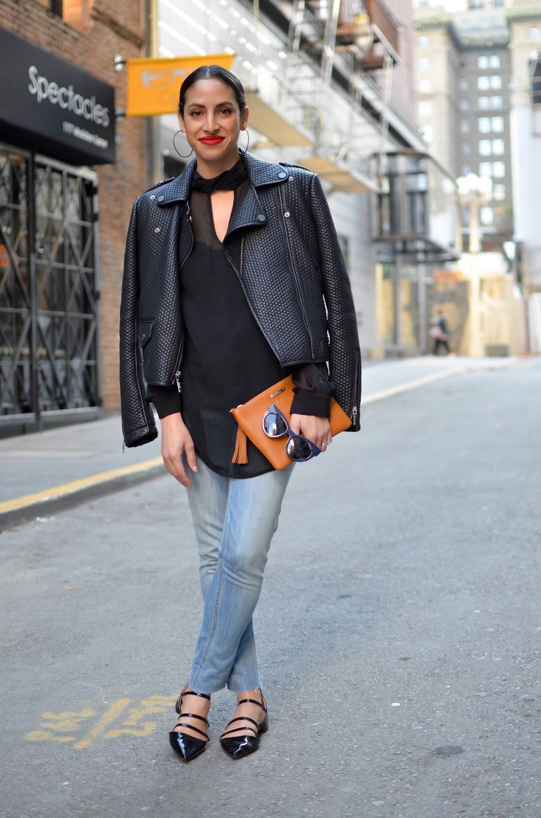 all black, OOTD,Gigi New York handbag, J. Crew denim, BCBG moto leather jacket, Stila Beso lipstick, SF streetstyle, streetstyle, Zara strappy sandals