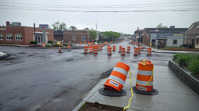 Main St at Emmons which is scheduled for paving Thursday night