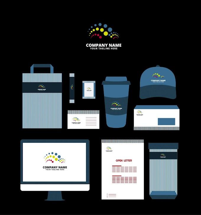Corporate identity collection dark blue design circles logotype Free vector