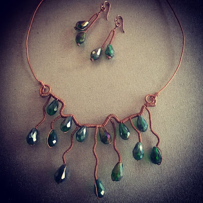 Copper Pendants, Necklace Sets, Copper Jewelry, Wire Wrapped Jewellery, Copper Wire Ear Rings