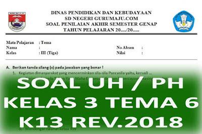 Soal UH / PH Kelas 3 Tema 6 Kurikulum 2013 Revisi 2018
