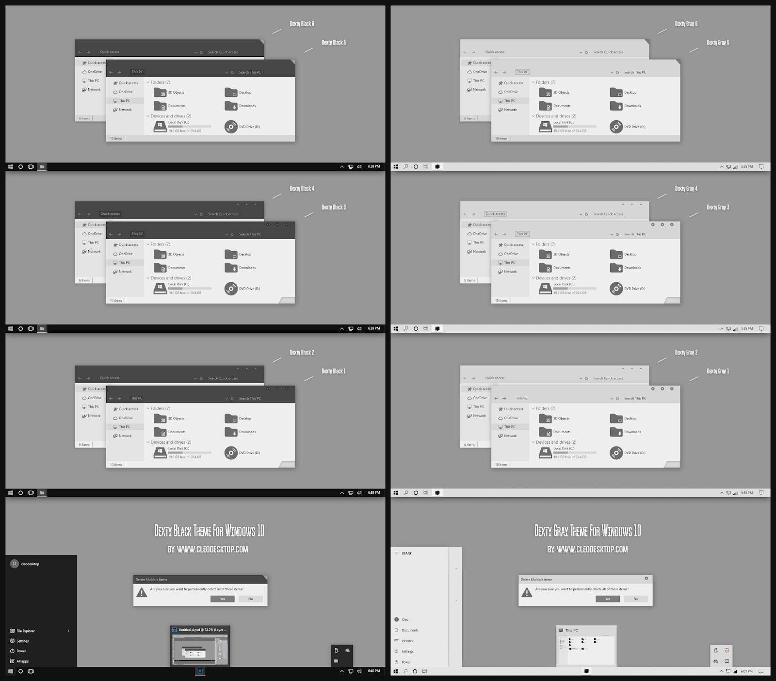 Dexty Black and Gray Theme Windows10 November 2019 Update 1909