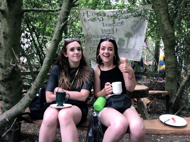Friends in the permaculture field at Glastonbury 2017