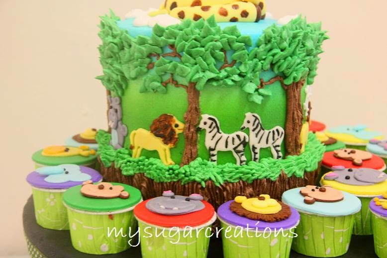 Jungle Theme 1st Birthday Cake For Harry